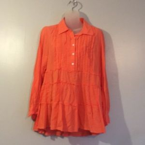 Style&Co button down orange blouse